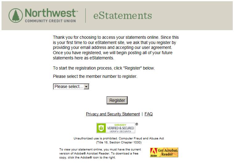 Image of eStatement enrollment screen